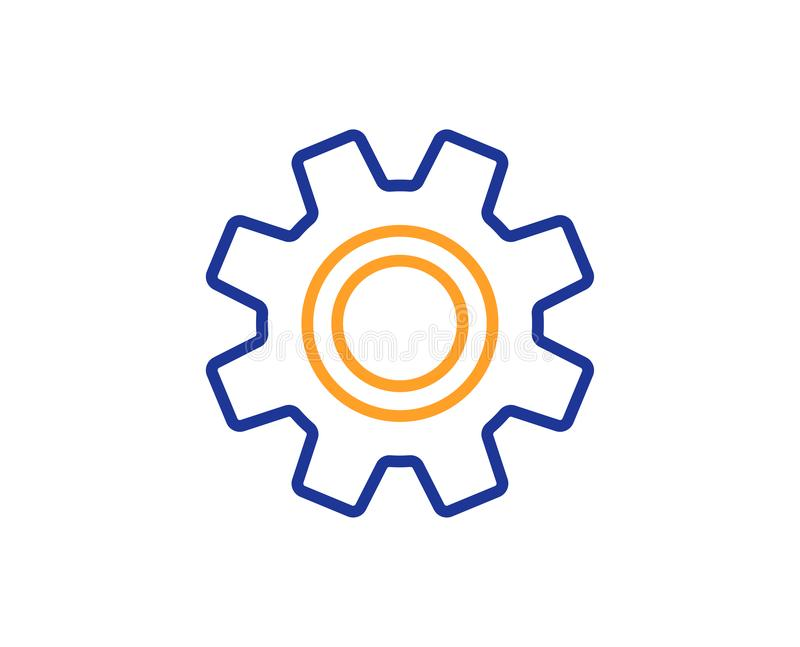 Cogwheel line icon. Service sign. Vector stock illustration