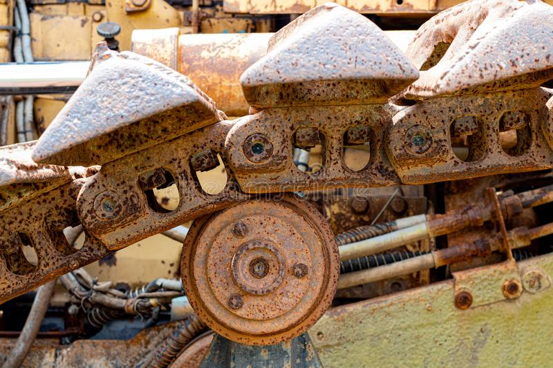 Cogwheel of the Old tractor , crawler wheel. Rusted royalty free stock images