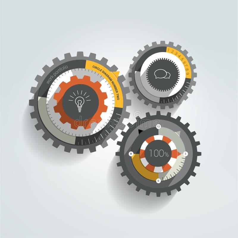 Cogwheel płaski infographic diagram ilustracji