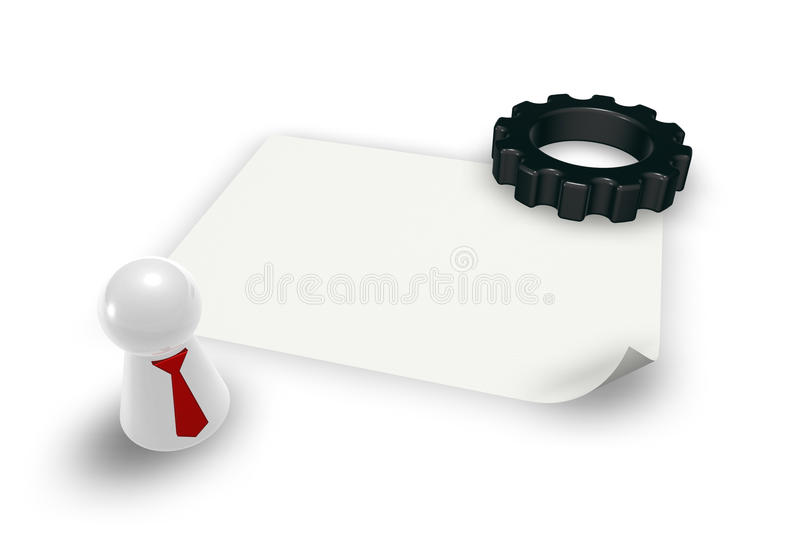 Cogwheel and play figure. Cogwheel, play figure with tie and blank piece of paper - 3d illustration vector illustration