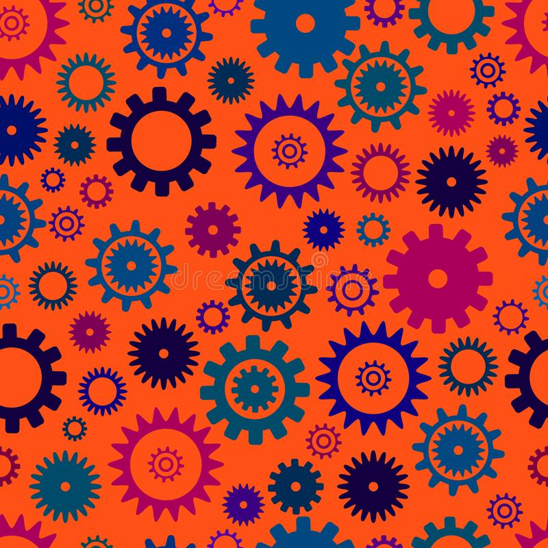 Cogwheel seamless colorful pattern, . orange color background. Abstract vector pattern. Texture with from different royalty free illustration
