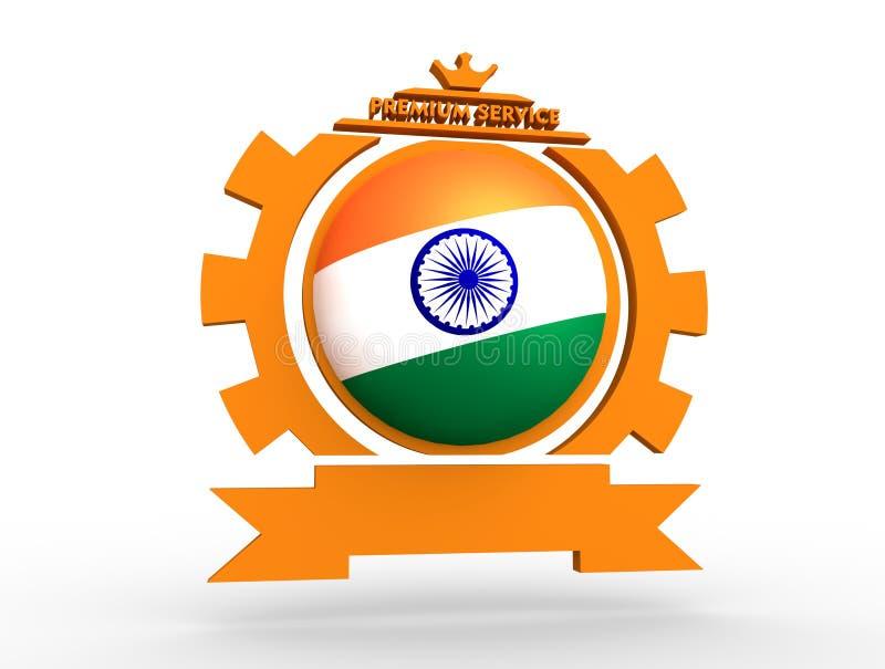 Cogwheel shaped emblem with flag vector illustration