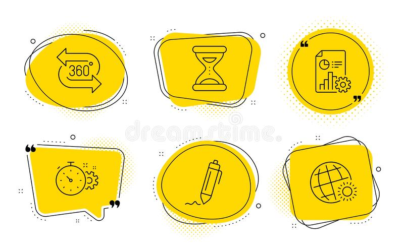 Cogwheel timer, Report and Time icons set. 360 degree, Signature and World weather signs. Vector. 360 degree, Signature and World weather signs. Chat bubbles stock illustration