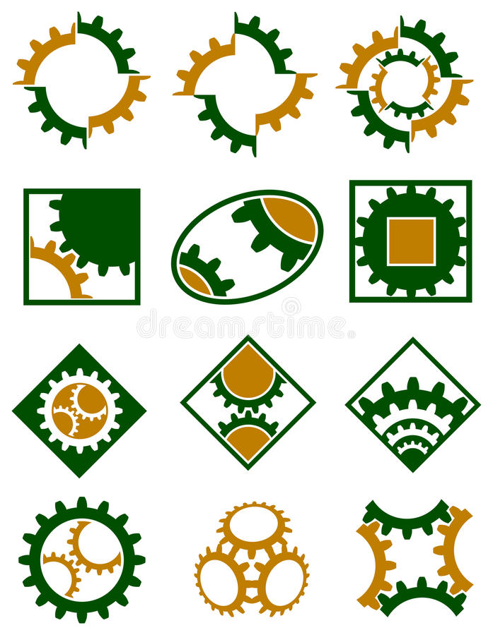 Cogwheels σύνολο λογότυπων ελεύθερη απεικόνιση δικαιώματος