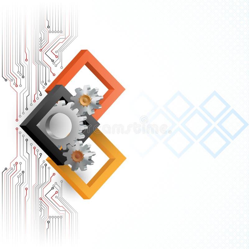 Cogwheels обрамленные 3 квадратами размеров бесплатная иллюстрация