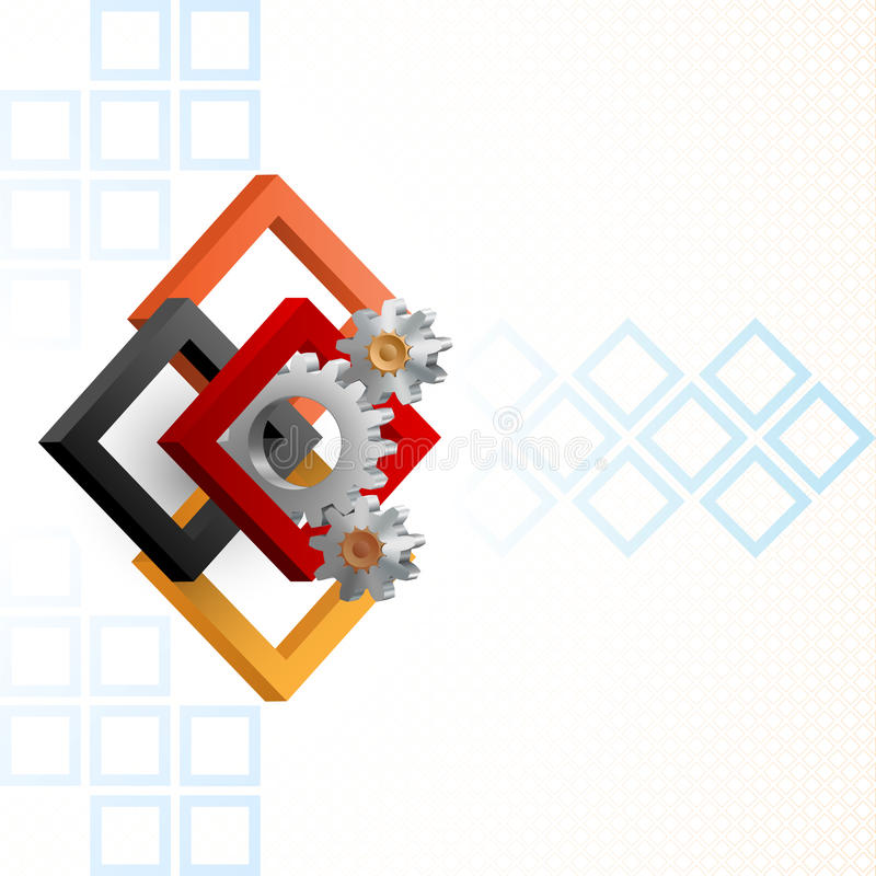 Cogwheels обрамленные 3 квадратами размеров иллюстрация штока