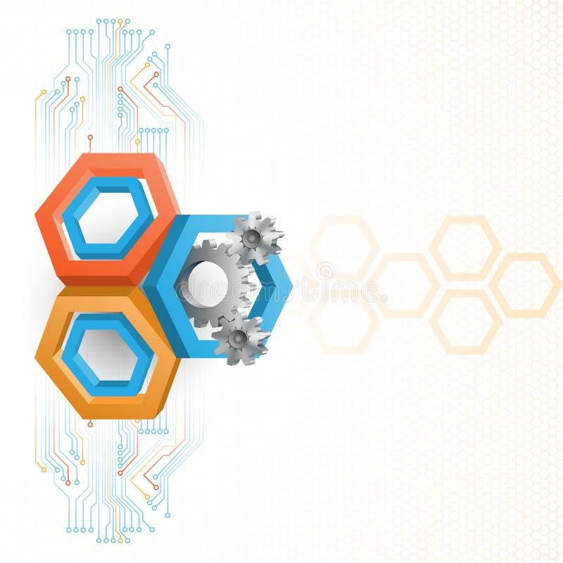 Cogwheels обрамленные 3 шестиугольниками размеров бесплатная иллюстрация