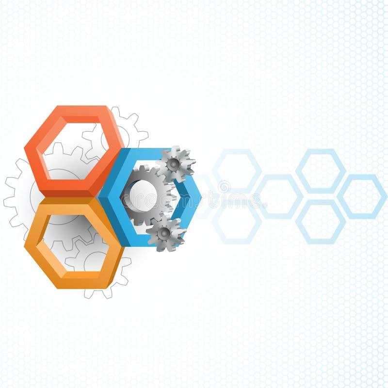 Cogwheels обрамленные шестиугольником 3 размеров иллюстрация вектора