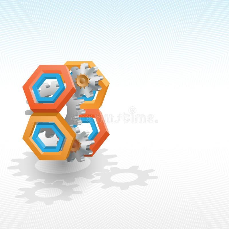 Cogwheels обрамленные шестиугольником 3 размеров бесплатная иллюстрация