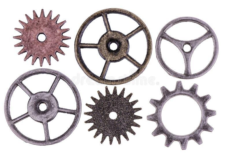 Cogwheels. Antique cogwheels isolated on white background. Close up royalty free stock image