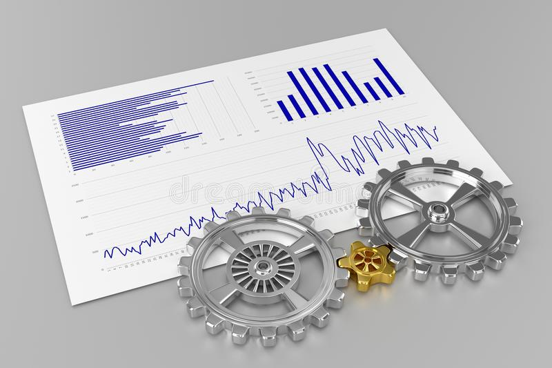 Cogwheels and Charts vector illustration
