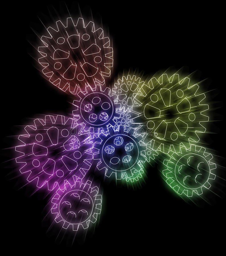 Download Cogwheels In Colorful Technology Center Flare Stock Illustration - Image: 26289870
