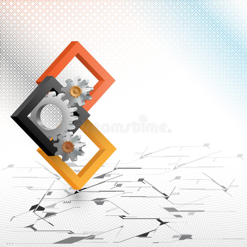 Cogwheels framed by three dimensions squares. The Unique Idea for technology background; Cogwheels framed by three dimensions squares. Abstract background for royalty free illustration