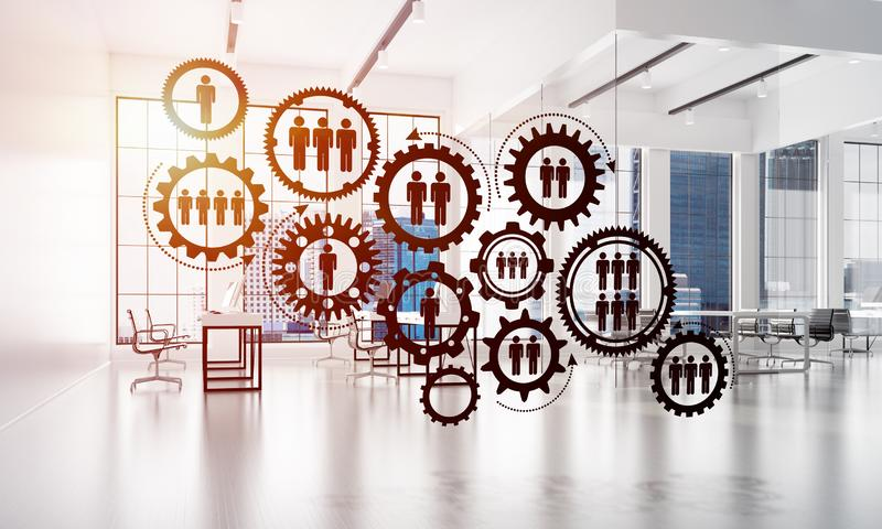 Networking and wireless connection as concept for effective modern business. Cogwheels and gears mechanism as social communication concept in office interior. 3D vector illustration
