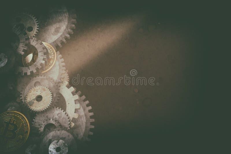 Cogwheels i przekładnia mechanizm na cyfrowym biznesowym tle fotografia stock