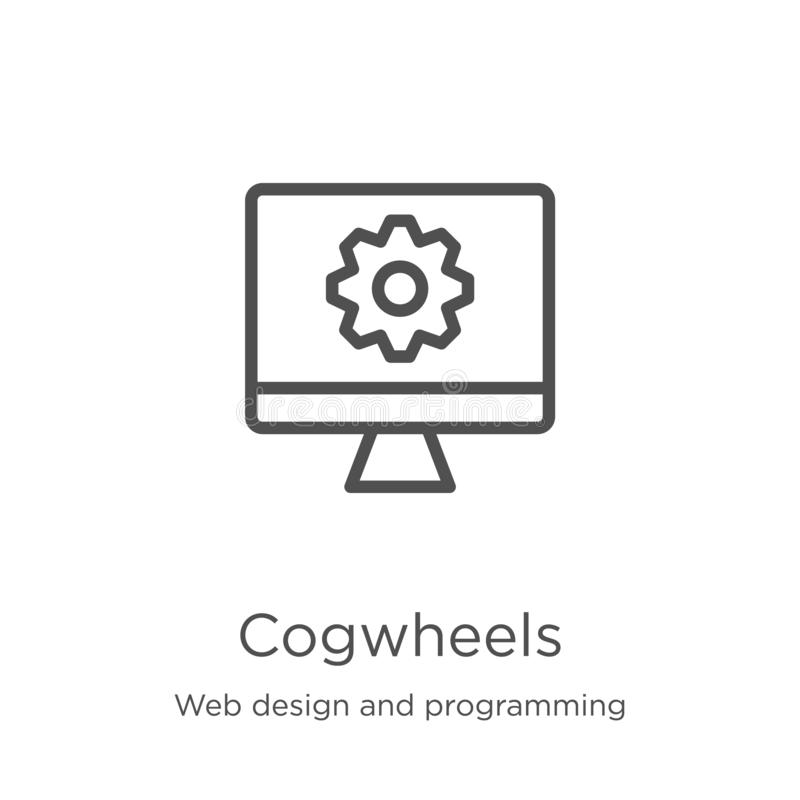 Cogwheels icon vector from web design and programming collection. Thin line cogwheels outline icon vector illustration. Outline,. Cogwheels icon. Element of web stock illustration