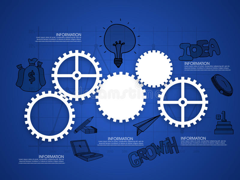 Cogwheels infographic for business. Shiny cogwheels with other infographic elements on blue graph paper background for your business reports and presentation stock illustration