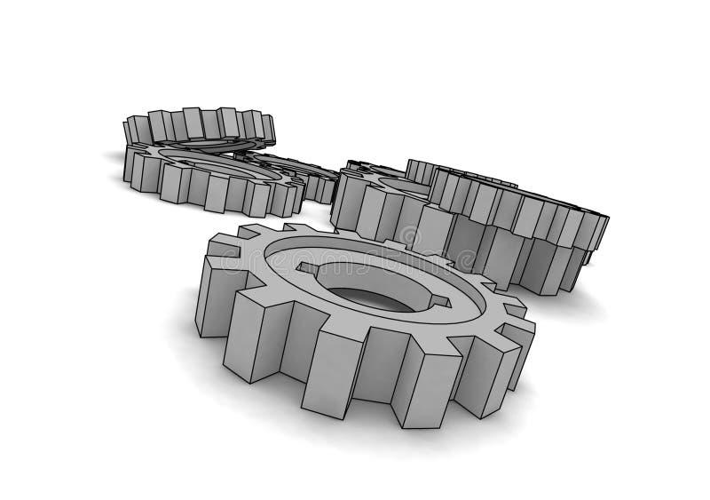 cogwheels odizolowywający ilustracja wektor