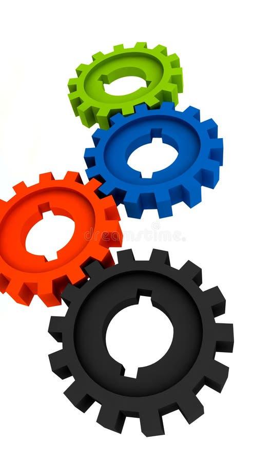 cogwheels odizolowywali ilustracja wektor
