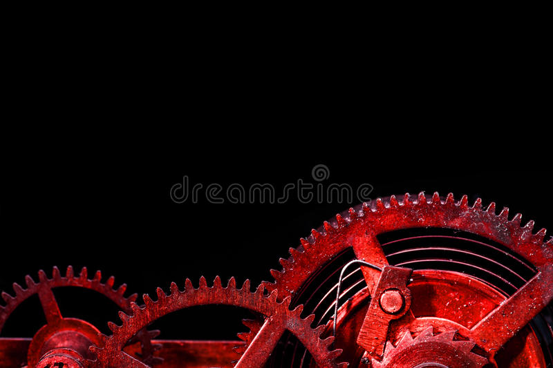 Cogwheels in old clock. Closeup royalty free stock photography