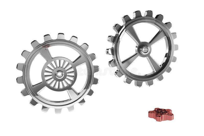 Cogwheels - Red Piece. (3D stock illustration