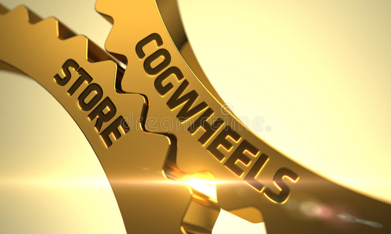 Cogwheels Store Concept. Golden Gears. 3D Illustration. stock images