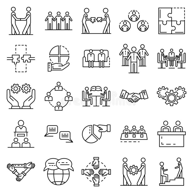 Cohesion icon set, outline style vector illustration