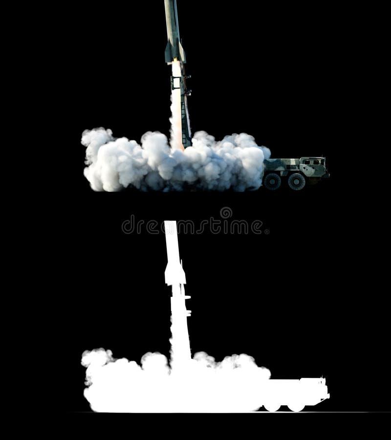 Cohete balístico nuclear, complejo Cohete del lanzamiento, aislante del polvo representación 3d ilustración del vector