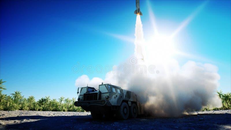 Cohete balístico nuclear, complejo Cohete del lanzamiento, representación del polvo 3d ilustración del vector