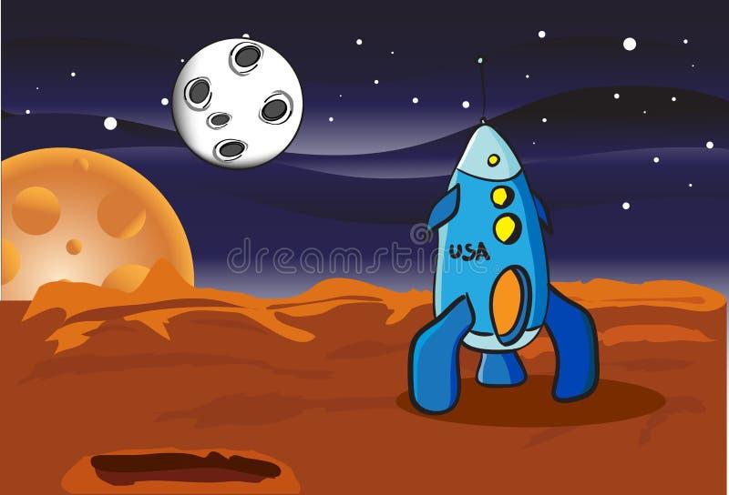 Cohete de espacio americano stock de ilustración