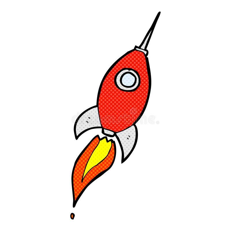 cohete de espacio cómico de la historieta stock de ilustración