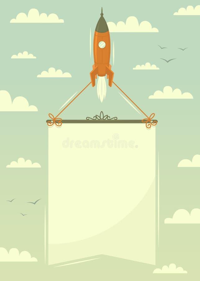 Cohete de espacio con la bandera libre illustration