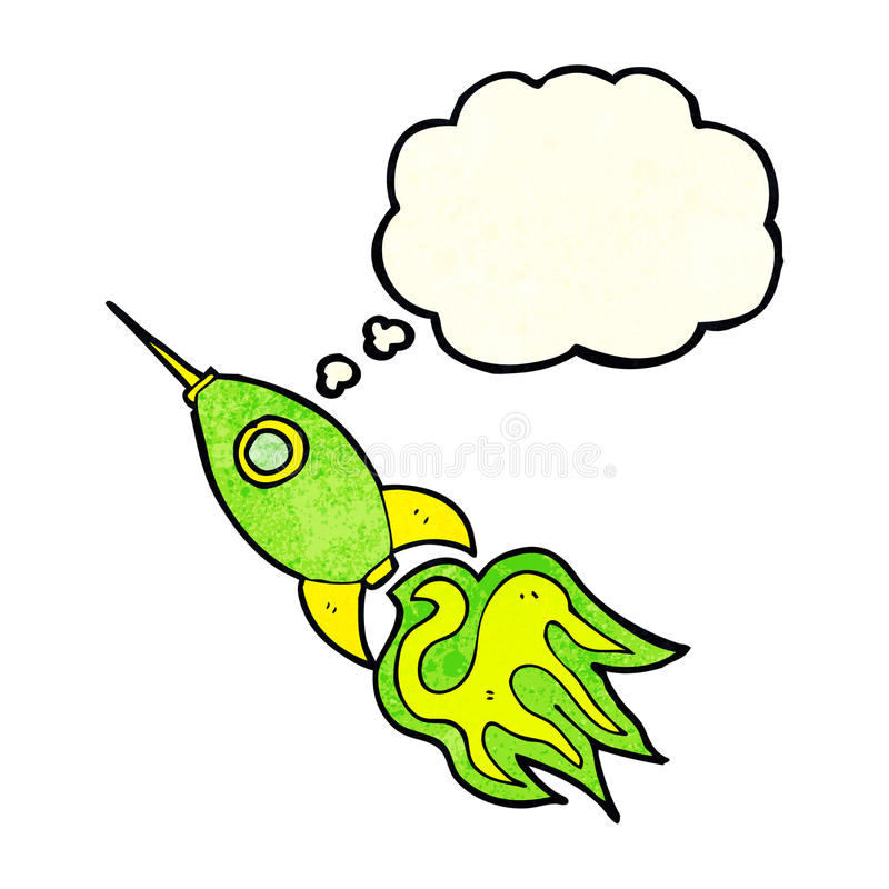 cohete de espacio de la historieta con la burbuja del pensamiento ilustración del vector