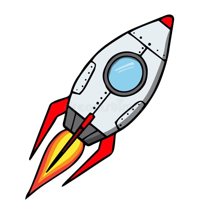 Cohete de espacio. Ejemplo del vector de la historieta ilustración del vector