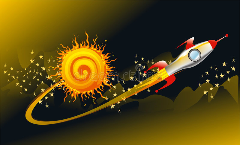 Cohete de la nave espacial de la vendimia en el espacio stock de ilustración