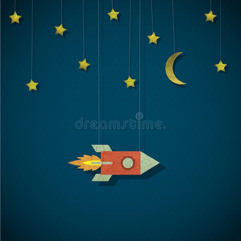 Cohete de la vendimia en espacio libre illustration