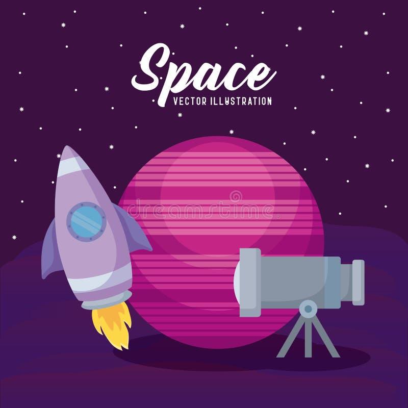Cohete de lanzamiento con el planeta y el telescopio ilustración del vector