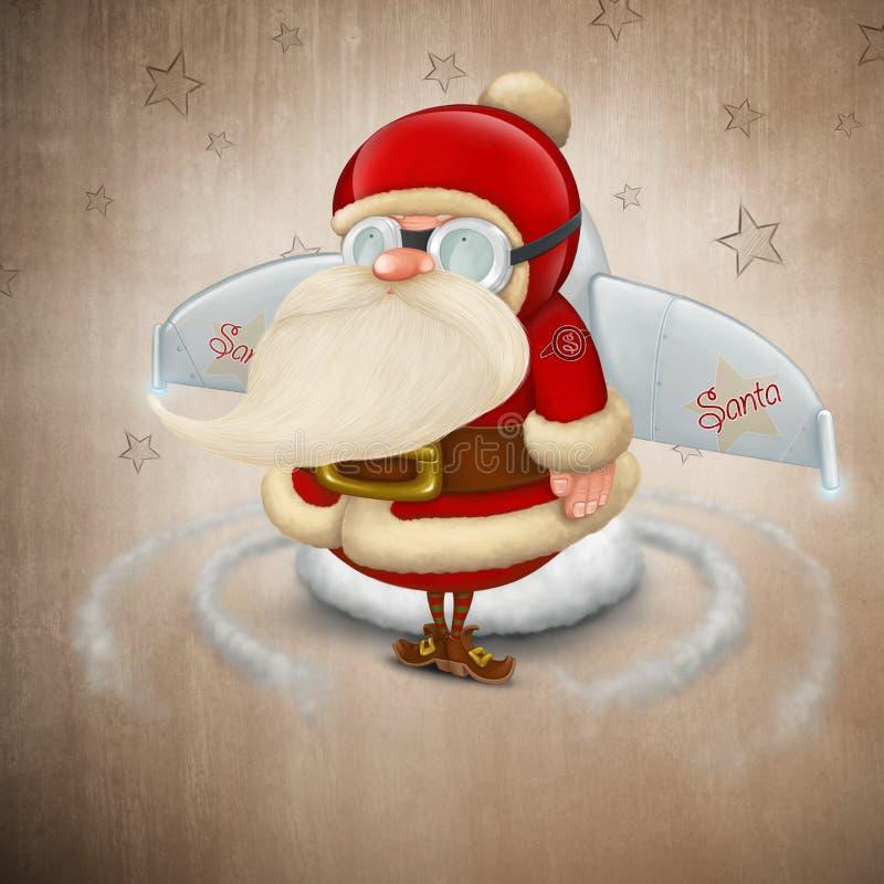 Cohete de Papá Noel stock de ilustración