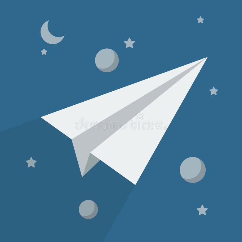 Cohete de papel en espacio ilustración del vector