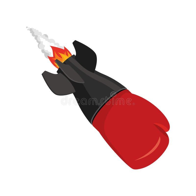 Cohete del guante de boxeo Bomba del aire del deporte Cohete que lucha el flamear p stock de ilustración