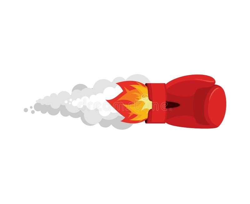 Cohete del guante de boxeo Bomba del aire del deporte Cohete que lucha el flamear p ilustración del vector
