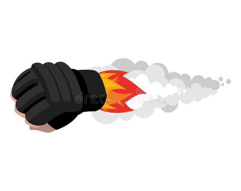 Cohete del guante de boxeo Bomba del aire del deporte Cohete que lucha PU el flamear libre illustration