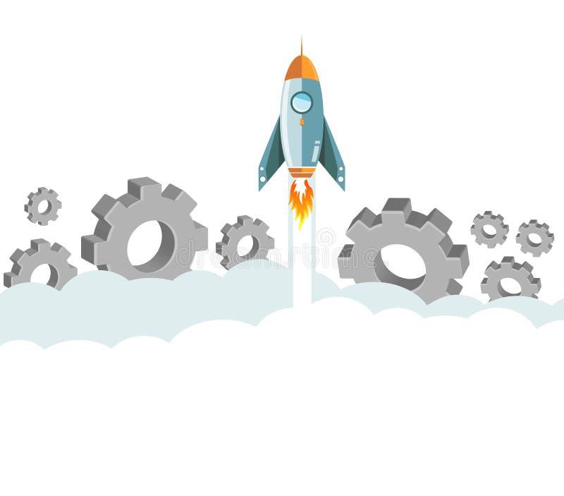 cohete del vuelo sobre las nubes y los engranajes ilustración del vector