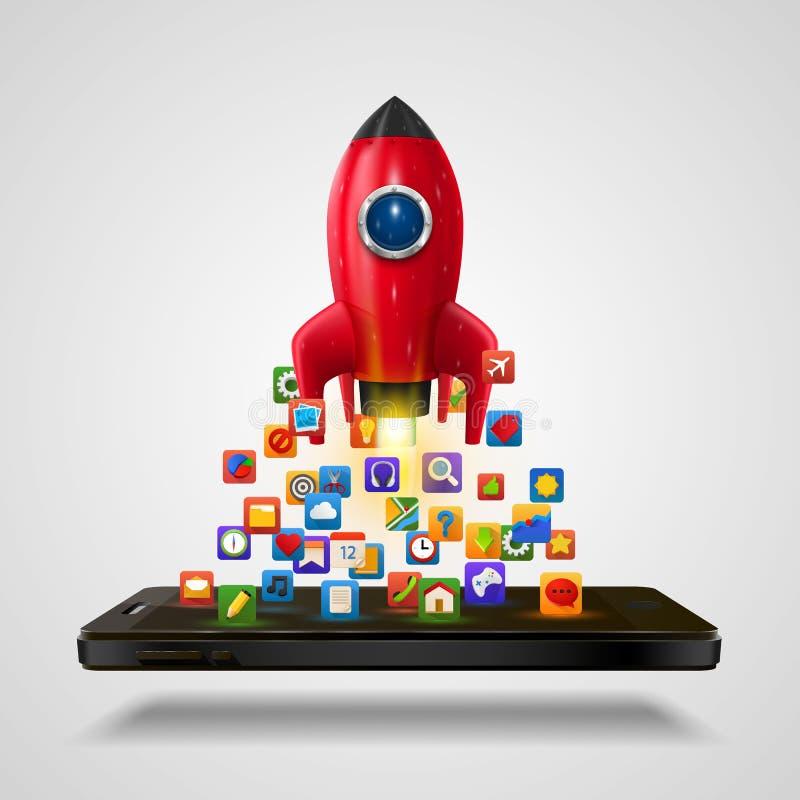 Cohete móvil del app de los iconos en el fondo blanco ilustración del vector