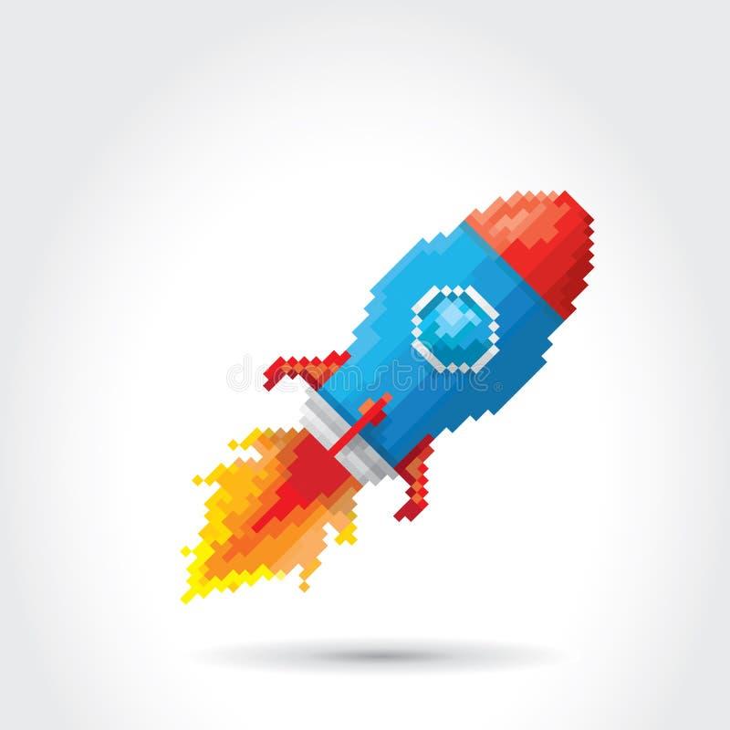 Cohete plano del pixel del vector en el fondo blanco stock de ilustración
