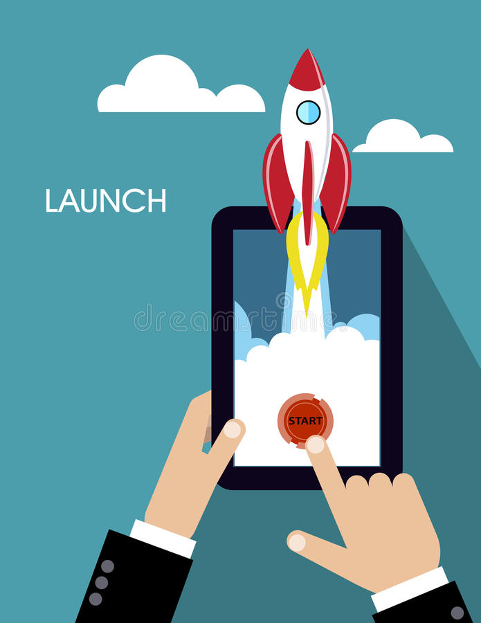 Cohete plano el concepto de nuevo proyecto del negocio y lanza un nuevo producto de la innovación en un mercado libre illustration