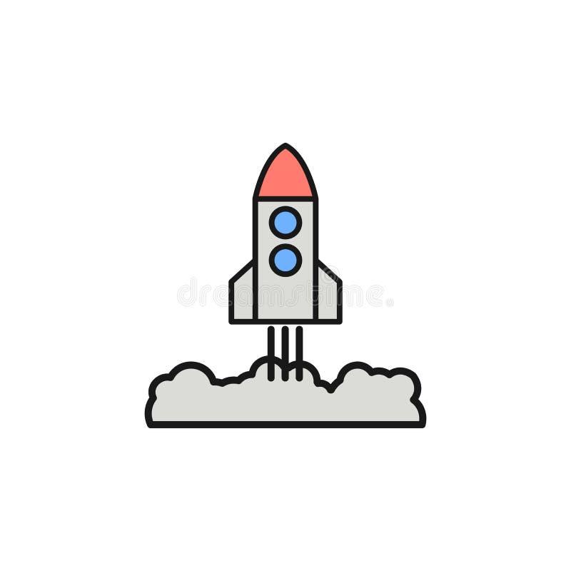 cohete que saca el icono Elemento del icono del color del esquema del espacio Línea fina icono para el diseño y el desarrollo, de libre illustration