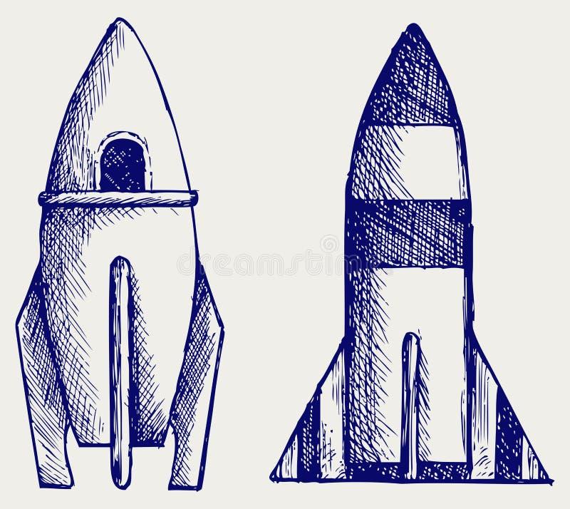 Cohete retro. Estilo del Doodle stock de ilustración