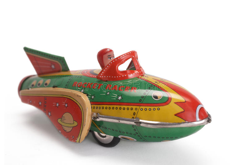Cohete viejo del juguete imagen de archivo