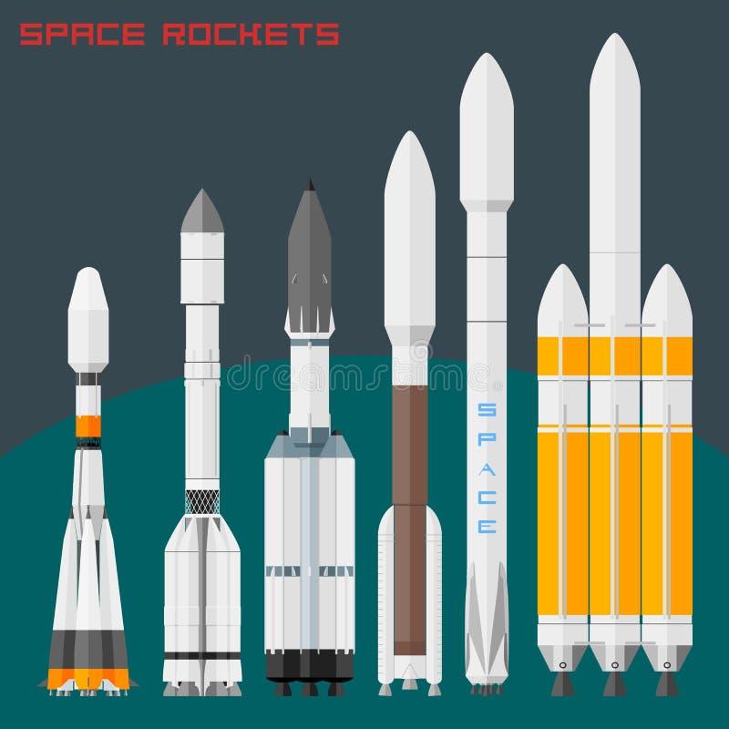 Cohetes de espacio fijados Cargo comparativo del tamaño y cohetes universales en el mundo ilustración del vector